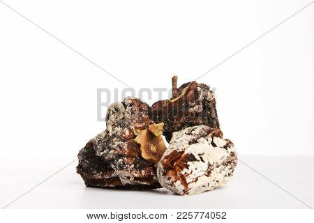Dried Persimmon Fruit Isolated On A White Background With Copy Space, Close-up. Healthy Vegetarian F
