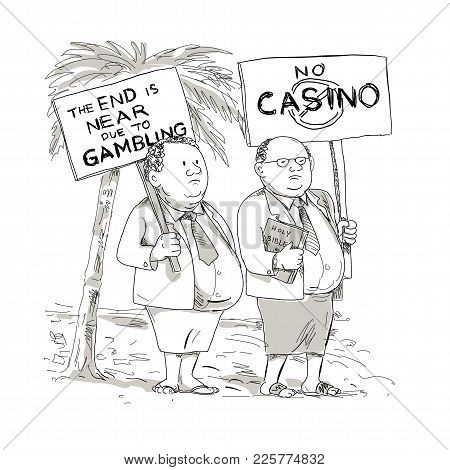 Cartoon Style Illustration Of Two Fat Samoan Preacher, Lay Minister Or Church Goer Wearing Jacket, T