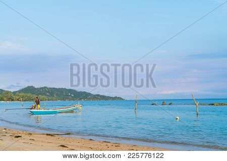 Ko Samui, Thailand - January, 23, 2018; Asian Idyllic Picturesque Coastal Scene With Traditional Lon