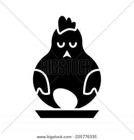 Easter Holiday Hen Vector Icon. Solid Flat Line Chicken Or Cock Silhouette. Hen With Egg. Easter Egg