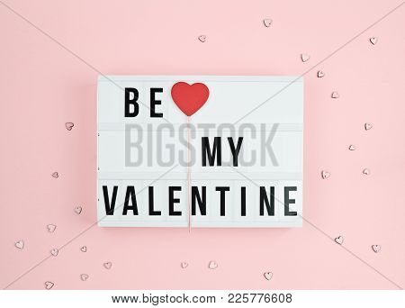 Valentine's Day Greeting Card With Light Box Text Be My Valentine