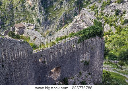 Walls Of St John Fortess In Kotor Town, Montenegro