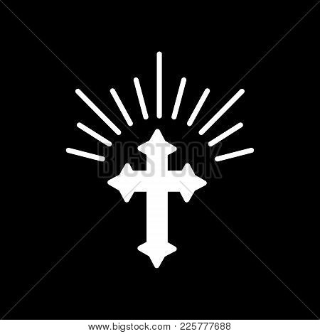 Silhouette Of Ornate Cross With Sun Lights. Happy Easter Concept Illustration Or Greeting Card. Reli