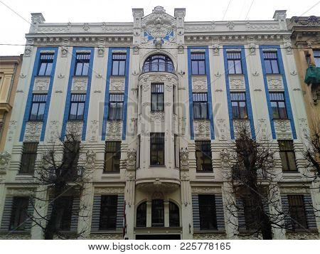 Art Nouveau Building With Blue Facade In Riga, Latvia