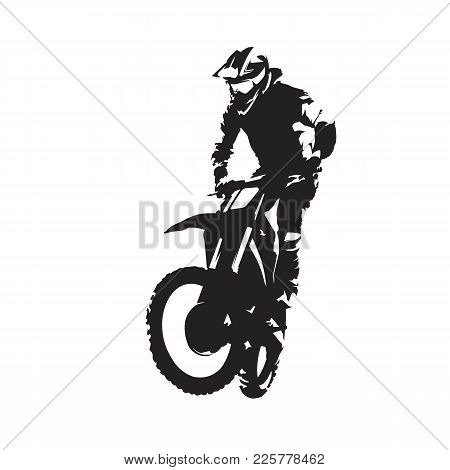 Motocross Vector Isolated Silhouette. Extreme Motor Sport