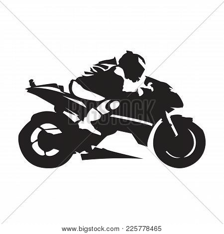 Motorcycle Racing, Abstract Vector Silhouette. Side View. Road Motorbike