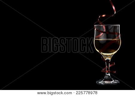 Filled White Wine Glass With Red Ribbon Isolated On Black Background. Place For Your Text.