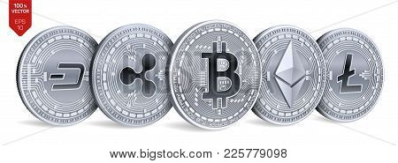 Bitcoin. Ripple. Ethereum. Dash. Litecoin. 3d Isometric Physical Coins. Digital Currency. Crypto Cur