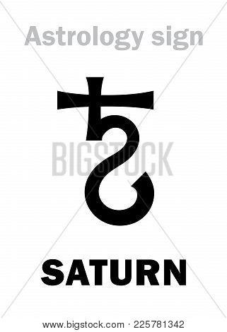 Astrology Alphabet: Saturn, Classic Major Social Planet. Hieroglyphics Character Sign (medieval Symb