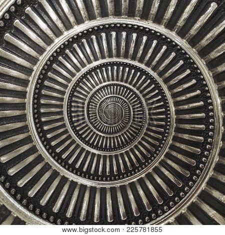 Gray Metal Abstract Spiral Background Pattern Fractal. Metallic Spiral Decorative Element Pattern Di