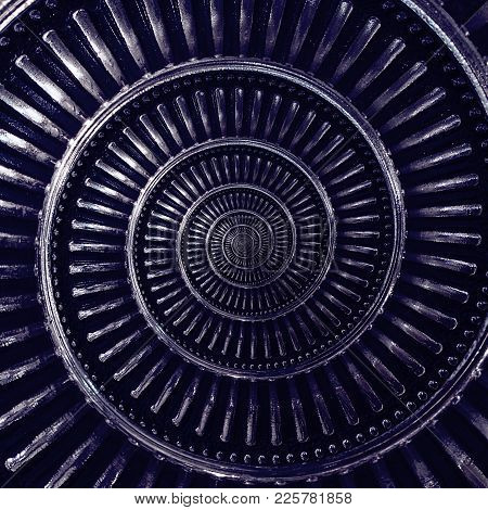 Contrast Dark Blue Navy Metal Abstract Spiral Background Pattern Fractal. Metallic Spiral Decorative