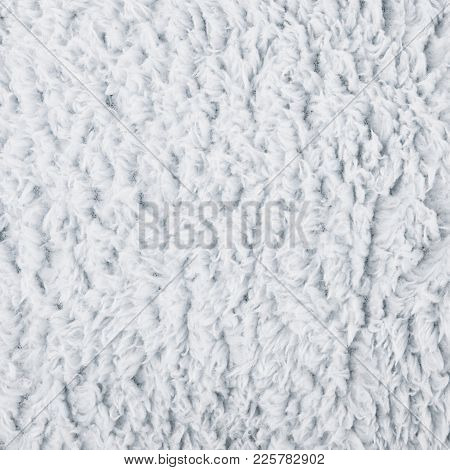 Close-up Fragment Of A Grey Colored Artificial Fur Texture As A Backdrop Composition