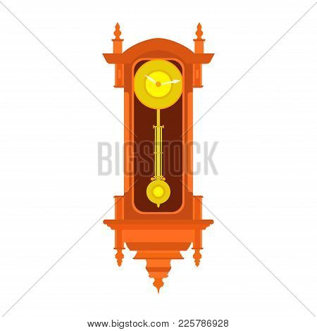 Clock Wall Vector Pendulum Old Antique Time Illustration. Vintage Retro Hour Isolated Design Watch M
