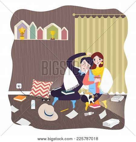 Couple At Home Room Hugging And Love Male Female Together Relationship Each Other Vector