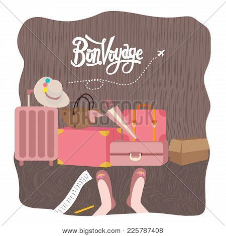 Bon Voyage Luggage Bag Traveling Vector Illustration Prepare For Holiday Tourism Vector