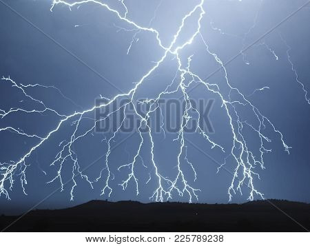 Lightning In The Sky. Electric Discharges In The Sky