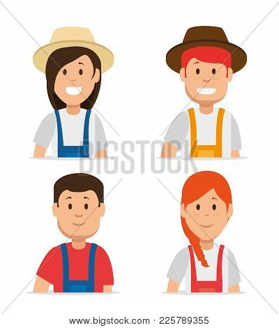 Farmer Gardener Cartoon People  Young Male And Female Figures Vector Illustration Graphic Design