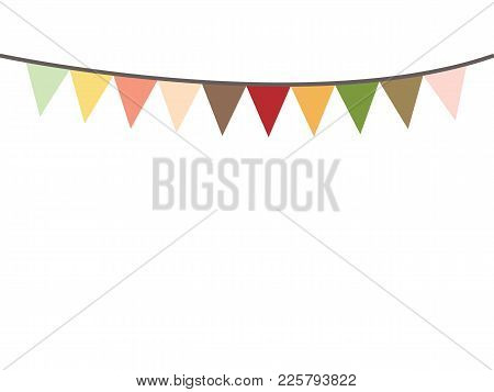 Colored Bunting Party Decoration Festive. Flags Illustration. Colorful Party Flags Decoration To Cel