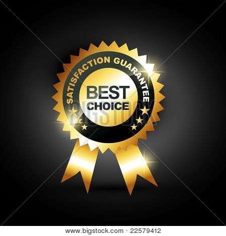 stylish blue best choice label sign