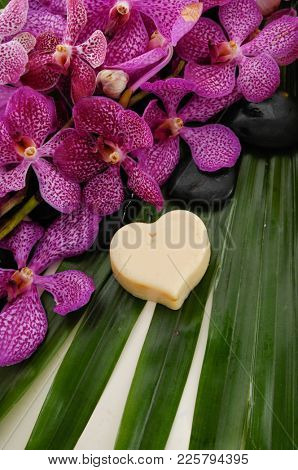 Spa set with soap, blak stones, orchid on palm