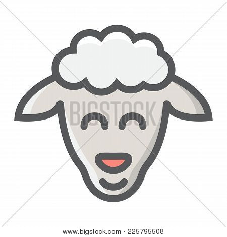 Sheep Filled Outline Icon, Easter And Holiday, Lamb Sign Vector Graphics, A Colorful Line Pattern On