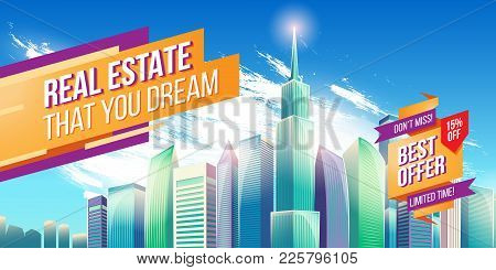 Cartoon Illustration, Banner, Urban Background With Modern Big City Buildings, Skyscrapers, Business