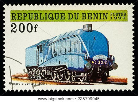 Moscow, Russia - February 09, 2018: A Stamp Printed In Benin, Shows Old Locomotive