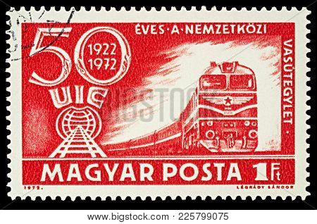 Moscow, Russia - Febuary 08, 2018: A Stamp Printed In Hungary, Shows Train, Devoted To The 50th Anni