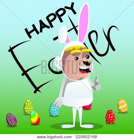 Boy Dressed As Easter Bunny Pointing At The Viewer With His Hand. Vector Cartoon Character Illustrat