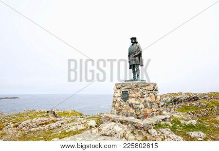Bonavista, Newfoundland.  Canada.  Statue of John Cabot. Italian navigator and explorer poster