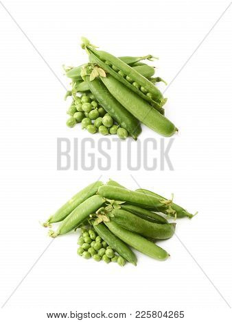 Green Pea Bean Isolated Over The White Background , Set Of Several Different Foreshortenings