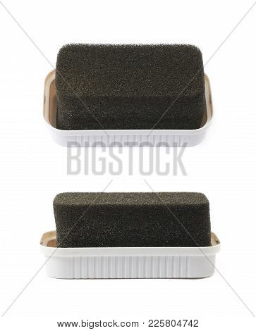 Black Shoe Shine Sponge Isolated Over The White Background , Set Of Several Different Foreshortening