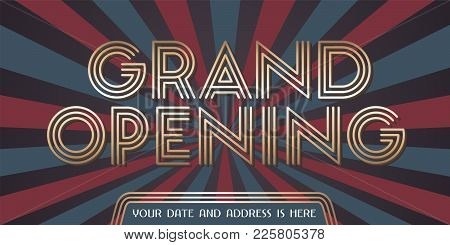 Grand Opening Vector Background. Golden Sign And Graphic Backdrop Design Element For Poster Or Banne