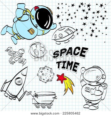 Space Themed Doodle Background. Astronautics Vector Elements