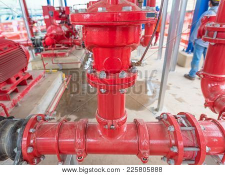 Pipelines Of Fire Fighting Systems At Industrial.