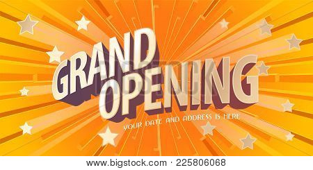 Grand Opening Vector Banner, Poster, Illustration. Unusual Design Element With Abstract Background F