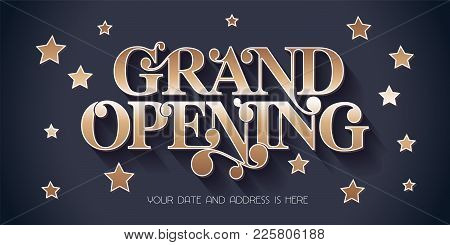 Grand Opening Vector Illustration, Background For New Store, Etc With Vintage Style Sign. Template B