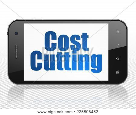 Business Concept: Smartphone With Blue Text Cost Cutting On Display, 3d Rendering