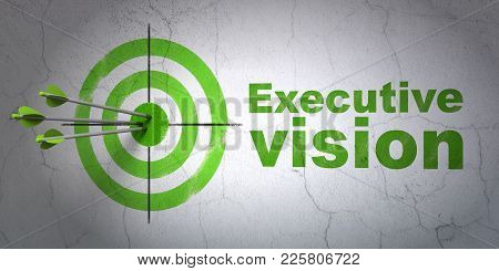 Success Finance Concept: Arrows Hitting The Center Of Target, Green Executive Vision On Wall Backgro