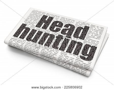 Business Concept: Pixelated Black Text Head Hunting On Newspaper Background, 3d Rendering