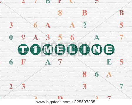 Timeline Concept: Painted Green Text Timeline On White Brick Wall Background With Hexadecimal Code