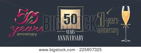 50 Years Anniversary Vector Icon, Logo Set. Festive Design Element With Golden Numbers And Champagne