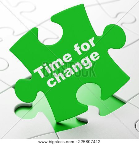 Timeline Concept: Time For Change On Green Puzzle Pieces Background, 3d Rendering