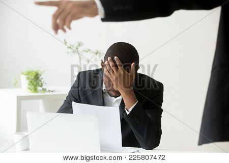 Frustrated Despondent African American Office Worker Getting Fired From Job Concept, White Boss Dism