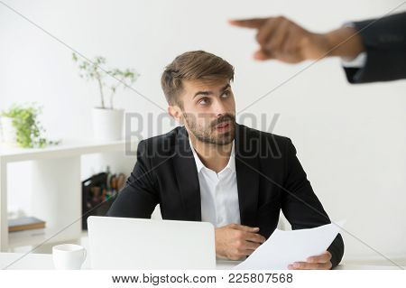 Black Boss Firing Shocked White Employee Stunned By Dismissal Notice, Confused Office Worker Frustra