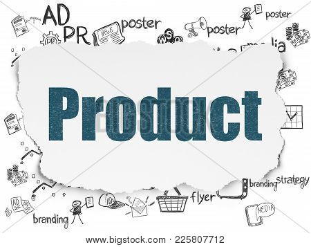 Marketing Concept: Painted Blue Text Product On Torn Paper Background With  Hand Drawn Marketing Ico