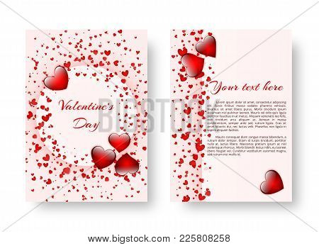 Cover Of Leaflets For The Day Of The Holy Valentine With Flaming Red Hearts. Vector Illustration