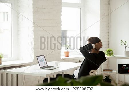 Happy Company Ceo In Suit Relaxing At Work Satisfied By Achievement Or Good Work Result, Confident B