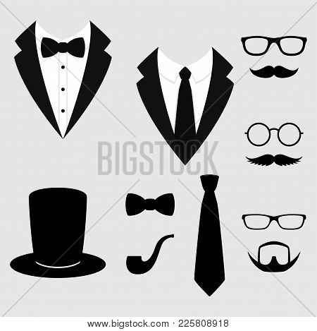 Men's Jackets. Tuxedo With Mustaches, Glasses, Beard, Pipe And Top Hat. Weddind Suits With Bow Tie A