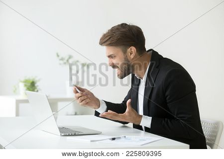 Angry Furious Businessman Holding Cell Annoyed By Not Working Broken Phone Feeling Mad About Missed